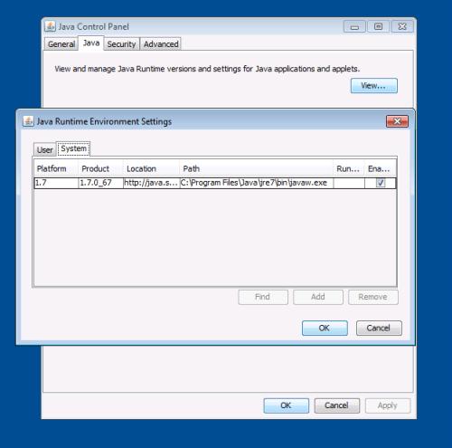 java runtime 32 bit for windows 7