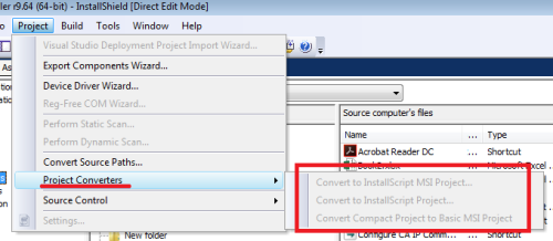 Q&A: Installshield project converters are disabled How to