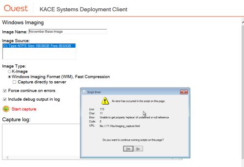 Q&A: Kace Deployment - Script Error when capturing image