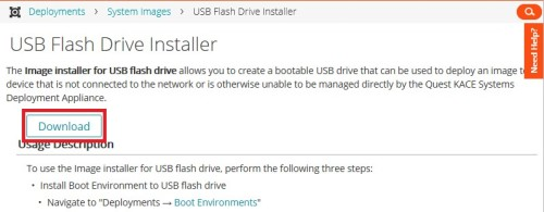 Article: Create Bootable USB KACE UEFI Images with System Images