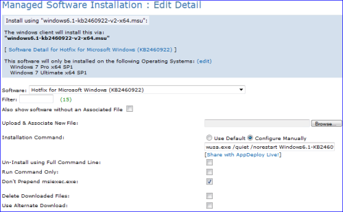 Article: Deploy a Microsoft Hotfix using a managed install