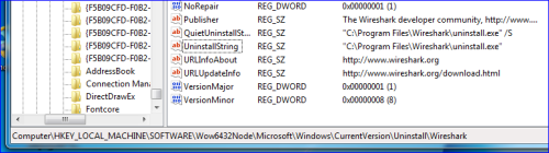 Q&A: Uninstall command based on registry entry - Wireshark
