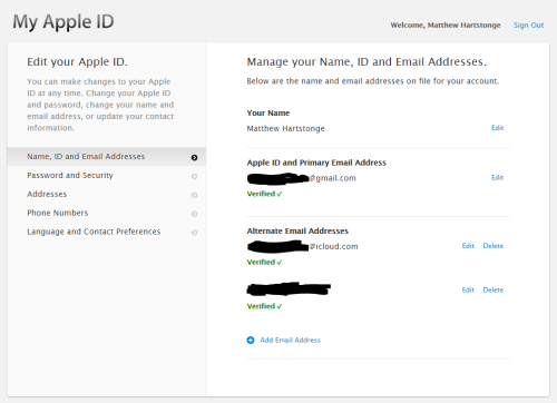 manage your apple id