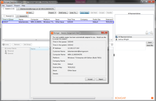 Article kace bomgar integration guide 101 itninja - Bomgar representative console download ...