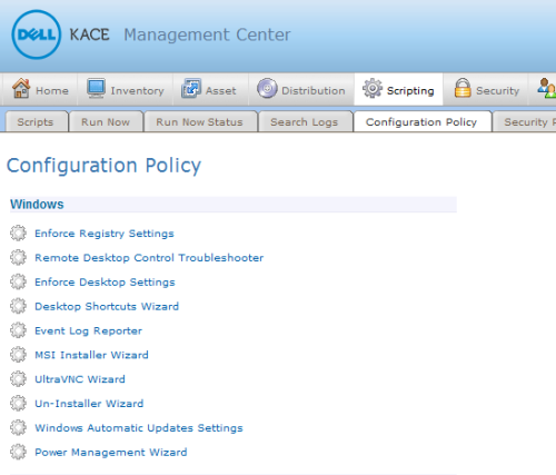Article: Using the KACE Configuration Policy to install the