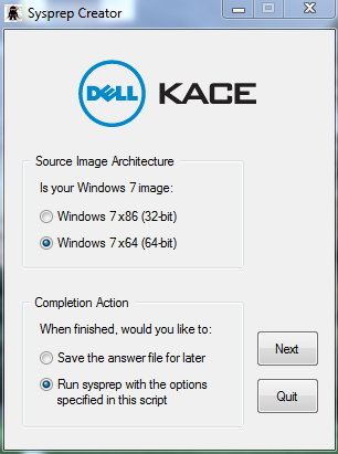 Q&A: How do I get Dell Kace sysprep creator to work on a